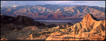 Zabriskie Point, Death Valley, and mountains in winter. Death Valley National Park (Panoramic color)