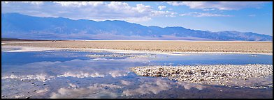 Reflections in shallow pond, Badwater. Death Valley National Park (Panoramic color)