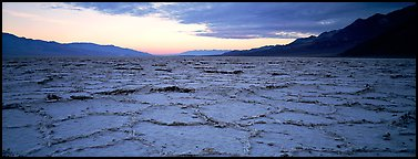Hexagons on salt pan at sunrise. Death Valley National Park (Panoramic color)