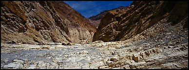 Dry desert wash, Mosaic Canyon. Death Valley National Park (Panoramic color)