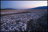 Salt formations on Valley floor, dusk. Death Valley National Park, California, USA. (color)