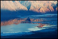 Reflections in Manly Lake at Badwater, seen from Aguereberry point, late afternoon. Death Valley National Park ( color)