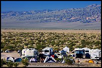 Campground and RVs at Furnace creek. Death Valley National Park, California, USA. (color)