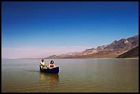 Canoe in Death Valley Lake in March 2005. Death Valley National Park, California, USA. (color)