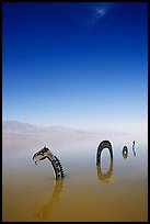 Short lived dragon art installation in rare seasonal lake. Death Valley National Park ( color)