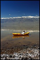 Salt formations, kayaker, and Panamint range. Death Valley National Park ( color)