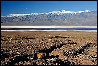Valley with seasonal lake in the distance and Panamint Range, morning. Death Valley National Park ( color)