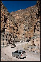 Cars in narrows, Titus Canyon. Death Valley National Park ( color)