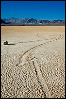 Zig-zagging track and sailing stone, the Racetrack playa. Death Valley National Park ( color)