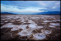 Mud and salt patterns at dusk, Cottonball Basin. Death Valley National Park ( color)