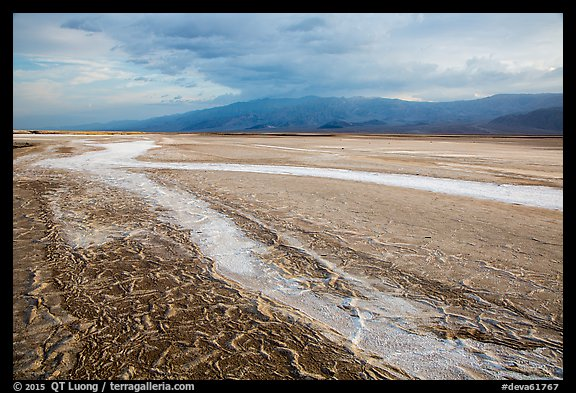 Mud patterns and dried salt rivers, Cottonball Basin. Death Valley National Park (color)