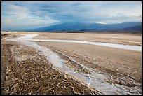 Mud patterns and dried salt rivers, Cottonball Basin. Death Valley National Park ( color)