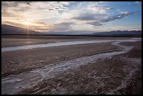 Rivers of salt and sunset, Cottonball Basin. Death Valley National Park ( color)