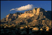 Boulders, El Capitan, and Guadalupe Range, sunset. Guadalupe Mountains National Park, Texas, USA. (color)