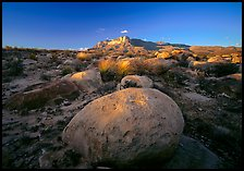 Boulders and Guadalupe range at sunset. Guadalupe Mountains National Park ( color)