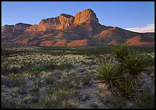 El Capitan from Williams Ranch road, sunset. Guadalupe Mountains National Park, Texas, USA.