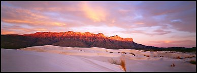 Desert and mountain scenery with gypsum dunes at sunset. Guadalupe Mountains National Park (Panoramic color)