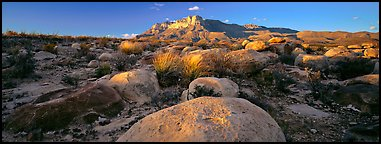 Boulders and Guadalupe range. Guadalupe Mountains National Park (Panoramic color)