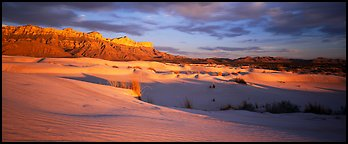 Desert and mountain landscape with white sand dunes. Guadalupe Mountains National Park (Panoramic color)