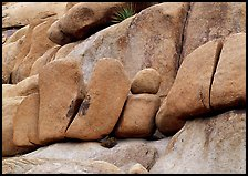 Stacked boulders in Hidden Valley. Joshua Tree National Park, California, USA.