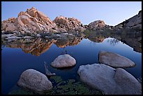 Boulders reflected in water, Barker Dam, dawn. Joshua Tree National Park, California, USA.