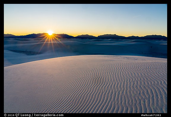 Sun setting over Andres Mountains. White Sands National Park (color)