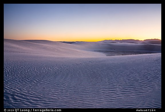 Dunes and mountains at dusk. White Sands National Park (color)
