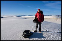Photographer holding large format camera. White Sands National Park ( color)