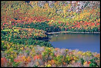 Eagle Lake, surrounded by slopes in fall foliage. Acadia National Park, Maine, USA.