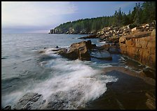 Surf and granite  coast near Otter Cliffs, morning. Acadia National Park, Maine, USA.