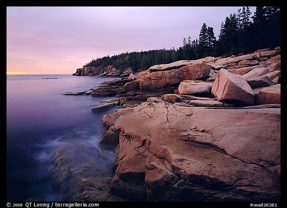 Coastline with granite slabs near Otter Point, sunrise. Acadia National Park (color)