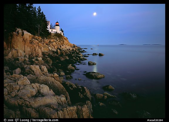 Bass Harbor Lighthouse, moon and reflection. Acadia National Park (color)