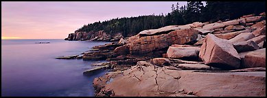 Rocky coastline with granite slabs. Acadia National Park (Panoramic color)