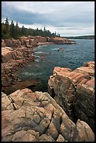 Rocky coastline near Thunder Hole. Acadia National Park, Maine, USA.