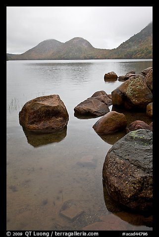Boulders and the Bubbles, Jordan Pond. Acadia National Park (color)