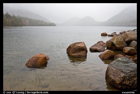 Jordan Pond on misty morning. Acadia National Park (color)