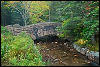 Carriage road bridge crossing stream. Acadia National Park, Maine, USA.