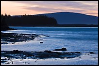 Pond and Cadillac Mountain at sunset, Schoodic Peninsula. Acadia National Park, Maine, USA.