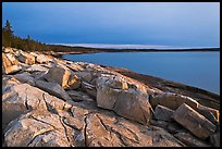 Granite slabs on coast, sunrise, Schoodic Peninsula. Acadia National Park, Maine, USA.