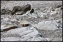 Slabs and pebbles on beach, Schoodic Peninsula. Acadia National Park, Maine, USA. (color)