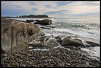 Seascape with pebbles, waves, and island, Schoodic Peninsula. Acadia National Park, Maine, USA.
