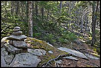 Cairn on trail, Isle Au Haut. Acadia National Park, Maine, USA.