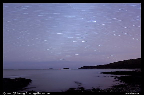 Star trails above coast, Schoodic Peninsula. Acadia National Park (color)