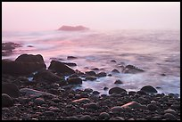 Boulders and ocean, foggy sunrise. Acadia National Park, Maine, USA. (color)