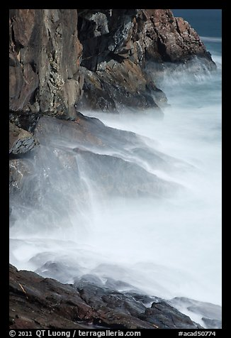 Blurred water at base of Great Head. Acadia National Park (color)