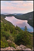 Jordan Pond and islands from Bubbles at sunset. Acadia National Park, Maine, USA.