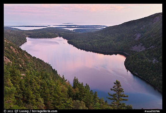 Jordan Pond from above, sunset. Acadia National Park (color)
