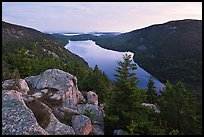 Forested hills and Jordan pond from above at dusk. Acadia National Park, Maine, USA. (color)