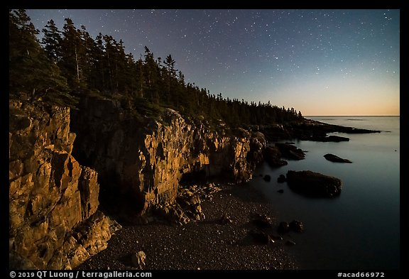 Ravens Nest with stary sky at moonset, Schoodic Peninsula. Acadia National Park (color)