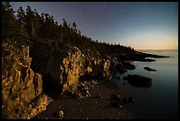 Ravens Nest with stary sky at moonset, Schoodic Peninsula. Acadia National Park, Maine, USA.